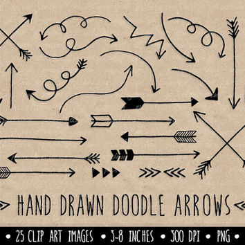 Arrows Clip Art Set. Hand Drawn Arrows Clipart. Black Doodle Arrows.  Line Art Tribal Arrow Images. Valentine's Day Arrows.