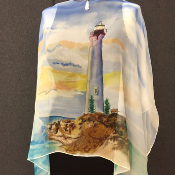 Lighthouse Pull-Over - Hand Painted Silk Poncho