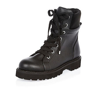 Black chunky utility boots - boots - shoes / boots - women