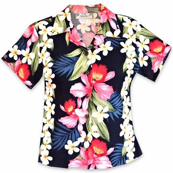 Orchid Play Navy Lady's Hawaiian Rayon Blouse