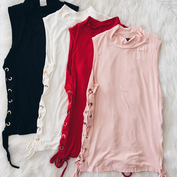 Lace Up Side Mockneck (Black, White, Red, Blush)