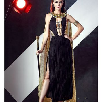 MOONIGHT Slim Cleopatra Costumes For Women Fancy Dress Women Indian Queen Costume Sexy Egyptian Goddess Cosplay For Halloween