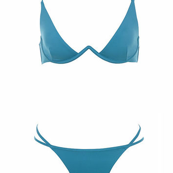 Clothing : Swimwear : 'Colonia' Deep Teal V Wire Bikini