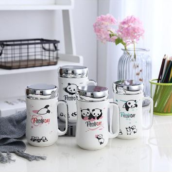 Cartoon Hello Kitty Panda Cow Bone Ceramic Coffee Milk Tea Mug Cup No Spoon Lid Can Be Use As Mirror