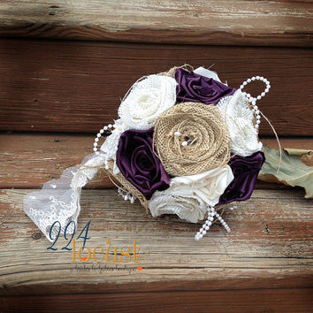 Kissing Ball, Plum Kissing Ball, Burlap, Wedding Bouquet, Burlap Bouquet, Rustic Burlap Bouquet, Burlap, Wedding, Flower Girl, Bridesmaid