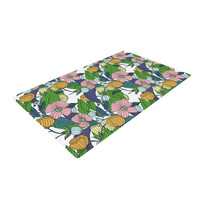 """Catherine Holcombe """"Spring Foliage"""" Floral Pastels Woven Area Rug"""