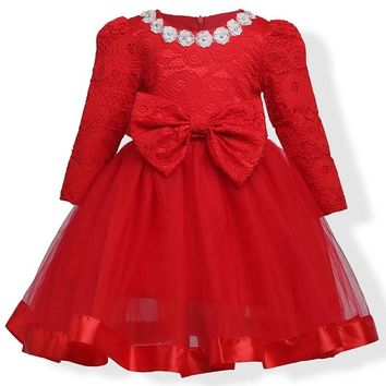 2017 Baby Girl Dress Big bow Lace Flower Girls Dresses Casual Kids Autumn Clothing long sleeve red 2t 3t 4t 5t 6t 7t 8t 9t 10t