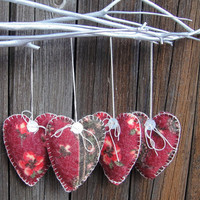 Hand Sewn Hearts Red and Pink Flowers Mohair Fabric by artbyLyubka