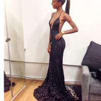 2017 Luxury Bling Sparkle Evening Dress Sexy Black Girl Prom Dress Mermaid Deep V-neck Black Sequins Prom Dresses Evening Gown