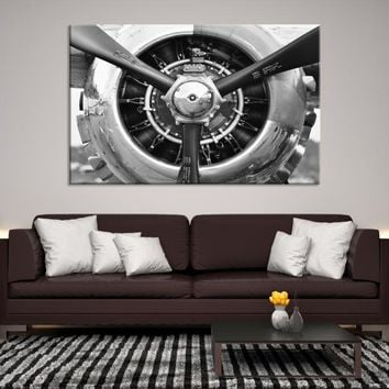 28132 - Black and White Head-on Shot of Airplane Propeller Wall Art, Propeller Canvas Print, Airplane Canvas, Large Wall Art, Large Canvas Print, Framed Wall Art, Office Decor