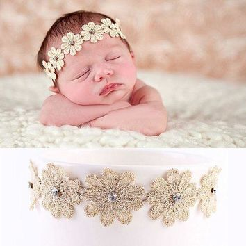 MDIGON Cute Newborn  Girls  Kids Elastic Flower Headbands Headwear  hair accessories