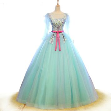 Green Tulle Evening Dresses Elegant Appliques Embroidery Prom Dress Scoop Neck Ball Gown Dress