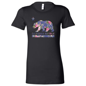 California Republic Paisley Flower Bear Ladies Lightweight Fitted T-Shirt