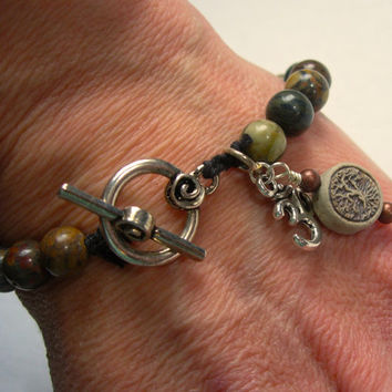 Beautiful Agate Bracelet with Tree of Life High Fired Bead and Ohm (Om) Charm