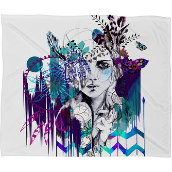Holly Sharpe Tribal Girl Colourway Fleece Throw Blanket