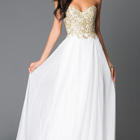 Long Beaded Strapless Sweetheart Prom Dresses