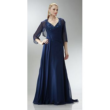 ON SPECIAL LIMITED STOCK - Navy Blue Chiffon Beaded Mother of Bride Dress Tank Strap Bolero Jacket