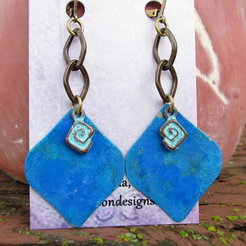 blue Moroccan earrings unique gifts for women Arabesque Rustic Bohemian jewelry