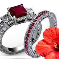 4.5 carat Diamonds Ruby Bridal Set Princess cut Classic 3-stone Diamond Ring White gold engagement party engaged