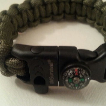 Olive green paracord parachute cord 550/325 bracelet with survival buckleor regular buckle