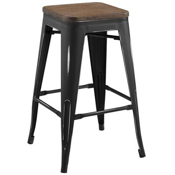 Promenade Cafe and Bistro Style Black Steel Counter Stool