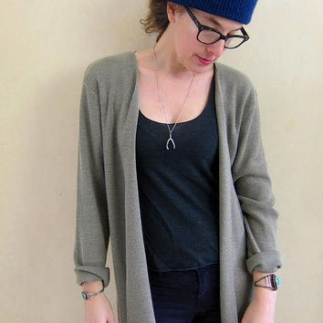 Oversized Cardigan Taupe Grey Open Sweater Top Minimal Sweater Slouchy Long Sweater Oversized Vintage 90s Thin Knit Cardi Womens XL Large