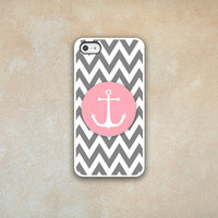 Anchor Iphone Case Iphone 4 Iphone 5 Iphone 4s Cover Nautical Phone Case Chevron Case Phone Case by Luv Your Case (123)