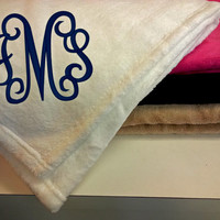Monogrammed Large Plush Blanket font shown INTERLOCKING
