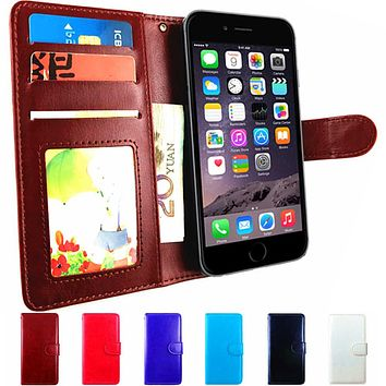 6 Flip Leather Wallet Case For iPhone 6 Plus 6S Case Luxury Cover Back Card Holder Book for iPhone 5S 5C SE S 5 Case Phone Purse