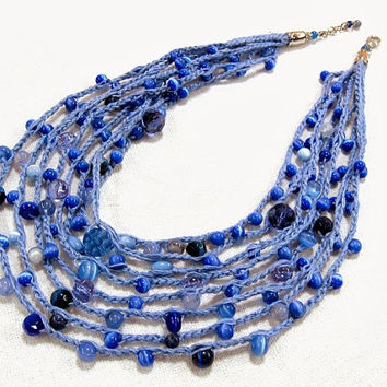 Blue Linen Crochet Necklace, graduated multistrand statement necklace, cat's eye, crystal, blue agate, eco friendly fiber jewelry, fiber art