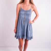 "Embroidered Top with Ruffle Bottom Dress in Blue ""Simplicity is Best"""
