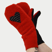 Mittens in Flame Red and Black - Striped Hearts - Recycled Wool - Fleece Lined