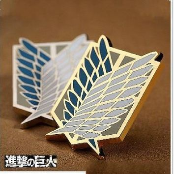 Cool Attack on Titan Badge Anime Peripheral Pins Scout Regiment Logo Brooch Survey Corps Erwin Smith Cosplay Costume AccessoriesAT_93_12