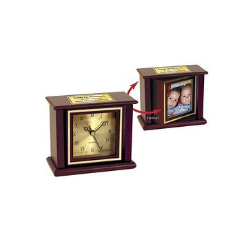 Personalized Mahogany Swivel Picture Frame Clock with 3x3 photo and Gold Engraving Plate Engraved Retirement Anniversary Wedding Gift