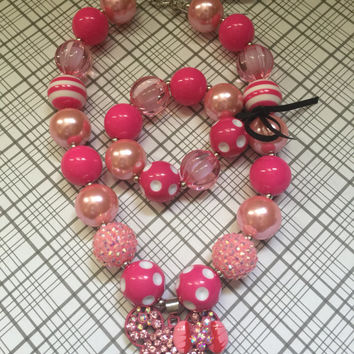 Girls Jewelry/Toddler/Baby/Necklace-Bracelet Set/Chunky Necklace/Bubble Gum Beads/Minnie Mouse/Gift Giving/Christmas Gift