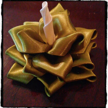 """4"""" Blooming Christmas Holiday Rose Flower in Chartreuse Olive Green and Ivory. Toddler Children Teens Adults Hair Clip"""