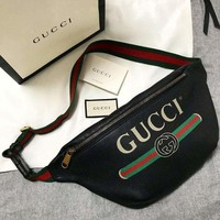 GUCCI unisex classic LOGO printing double G leather diagonal chest bag F/A