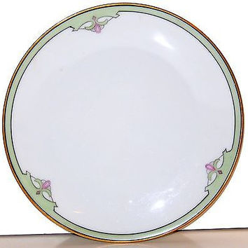 Sevres Thomas Bavaria Lunch Plate Antique Porcelain Green Pink Art Deco