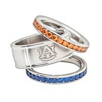 LogoArt Auburn Tigers Stainless Steel Crystal Stack Ring Set