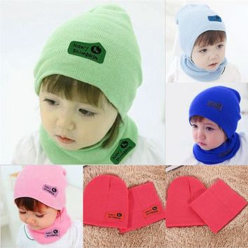 6 Colors Cute Spring Autumn Winter Baby Cap Girls Boys Children Knitted Hat and Scarf Set Free Shipping