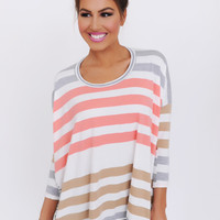 CORAL/GREY/TAN MULTI STRIPE TOP