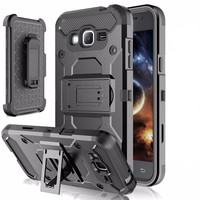 Samsung Galaxy J3 Heavy Duty Armor Case With Holster & Kickstand Belt Clip [5 colors]