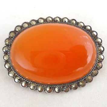 Vintage Art Deco Sterling Silver GERMANY Carnelian Pin