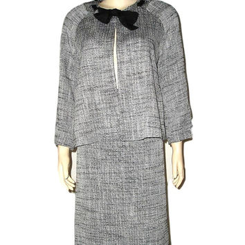 French B&W Black and White Silk Linen TWEED Skirt Suit with Swing Jacket from France 10/12