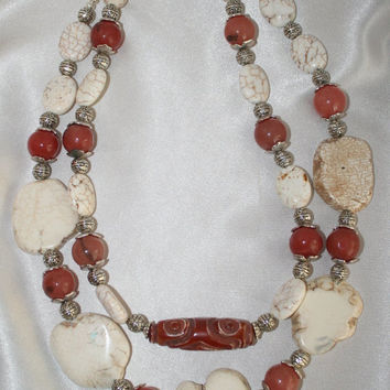 Chunky Natural Red Jade Statement Necklace, Big Carved Jade Tribal Style Pendant, Bold White Turquoise Slab Bead Necklace, Pendant Necklace