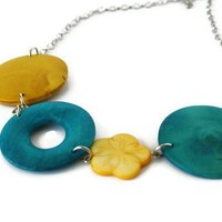 Chunky Necklace In Yellow And Teal. Perfect Spring And Summer Fashion. | Luulla