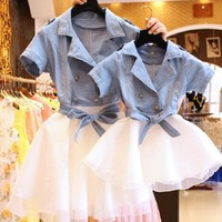 Mather Daughter Dresses Mommy And Me Matching Clothes 2 Two Pieces Set Tutu Jeans Dress Kid Girls Denim Jacket Coat Outfits