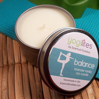 BALANCE Yoga Candle - Yogilights Lavender Vanilla Aromatherapy Scented Soy Candle