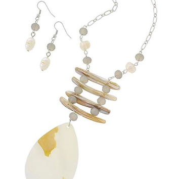 Silver Mother of Pearl & Shell Long Pendant Necklace and Earring Set