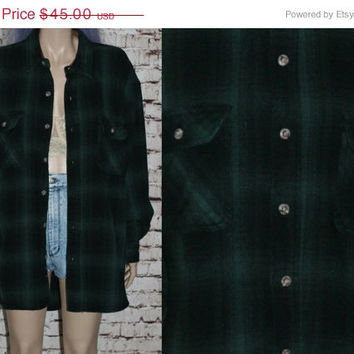 90s Flannel Shirt XL Jacket Coat Checkered Plaid Black Green Button Up Grunge Punk Hipster Pastel Goth Festival Mens Wear Oversized  L 1X